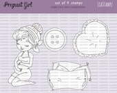Digital stamp -Pregnant Girl set. digital stamp. expecting stamp. pregnancy stamp. LiaStampz