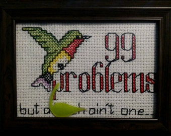 99 Problems framed counted cross stitch