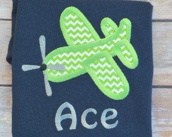 Personalized Plane Applique Onesie or Shirt