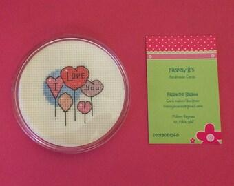 Handmade Heart cross stitched round coaster