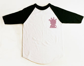 A Queen white & black raglan with logo
