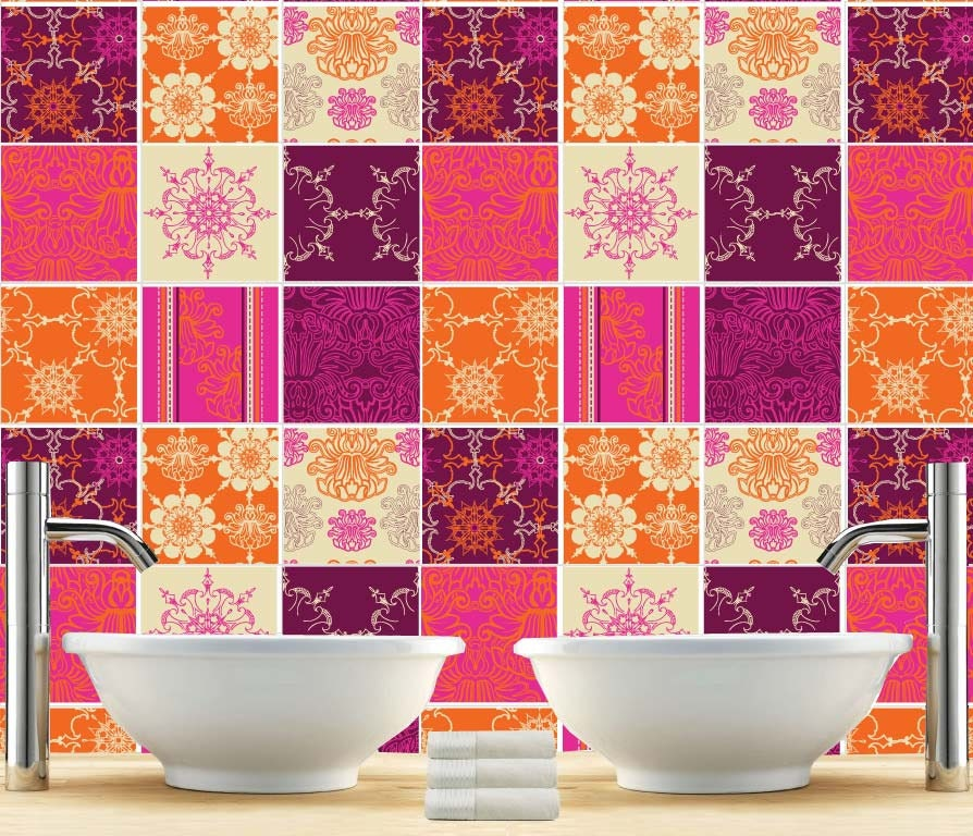 Indian Kitchen Wall Tiles Pictures: Kitchen Splashback Indian Patchwork Tiles Stickers Tiles