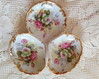 Stunning Hand Painted Ceramic Dish, White And Pink Roses, Divided Dish, Vanity Tray, Trinket Dish, Jewelry Holder, Shabby Chic