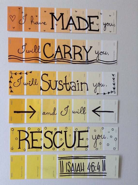 Items similar to Paint Chip Wall Art - Isaiah 46:4 on Etsy