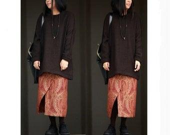 Paisley patterned  brocade skirts BonLife