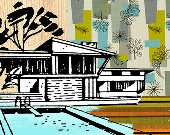 Modernist House. Digital collage. Giclee print. #madmodernism