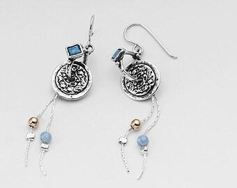 SHABLOOL earrings,sterling Silver 925 Earrings with opal stone e971