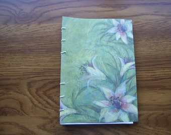 Journal Hand Stitched Soft Cover Blank Journal Lilies