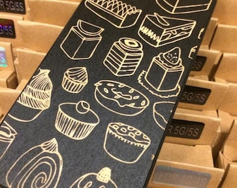 Sweet Cake Engraved On Black Color Dipped Wooden Case, iPhone 4/4S, iPhone 5/5S, Samsung Galaxy 3, Samsung Galaxy 3