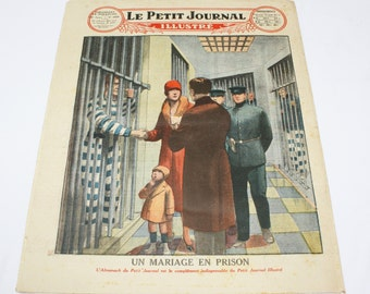 Vintage French newspaper, Le Petit Journal illustre, Paris, antique ephemera, scrapbooking, Une fillette admirable,  colour illustration