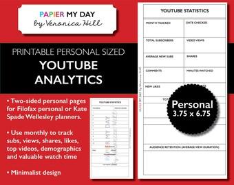 YouTube Analytics Tracker Printable - YouTube Statistics Worksheet - Fits Filofax Personal, Kikki K Medium