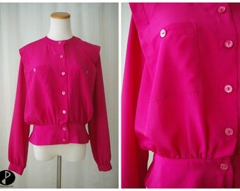 Hot Pink Button Down Blouse 80's // Long Sleeve Blouse Neon Pink 1980's // Medium