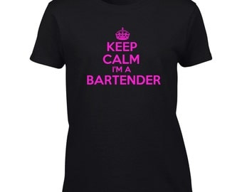 Keep Calm I'm A Bartender T-Shirt Mens Ladies Womens Kids Youth