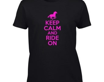 Keep Calm And Ride On T-Shirt Funny Horse Horseback Riding Mens Ladies Womens Kids Youth Child Big And & Tall