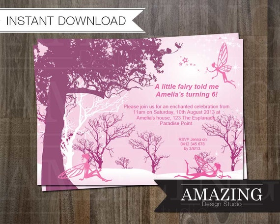 Enchanted Forest Themed Wedding Invitations: Fairy Birthday Invitation: Instant Download Editable Printable