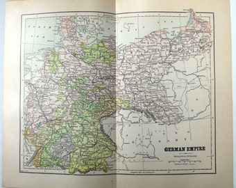 Vintage Original 1887 Map of The German Empire by Phillips & Hunt
