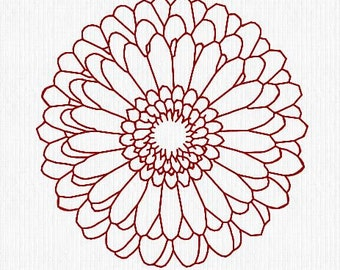 Embroidery Redwork Design File Daisy Mandala Great for Tote Bag, Pillow, Gift Bag