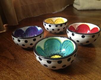 Hand painted flower and polka dot mini bowl, prep bowl, sauce cup, ring dish, pinch bowl