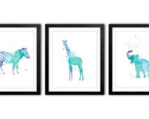 Elephant Nursery, Giraffe Art, Nursery Decor, Kids Room, Safari Artwork, New Baby Gift, Watercolor Art - Zebra Painting - AS43