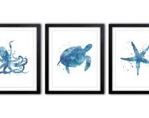 Nautical Decor, Watercolor Art, Ocean Art, Wall Art, Sea Life Art, Sea Turtle Art, Bathroom Art, Star Fish, Octopus, Set of Three - NS20