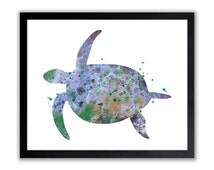 Turtle Painting, Nautical Nursery Art, Boys Bathroom Art, Kids Wall Art, Watercolor Painting, Crab Silhouette, Sea Life Theme, Ocean, NA032