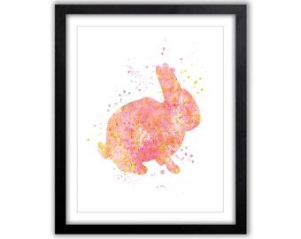 Rabbit Nursery Decor, Rabbit Painting, Nursery Art, Watercolor, Bunny, Woodland Nursery, Pink and Orange, Baby Girl, Children's Room, WA044