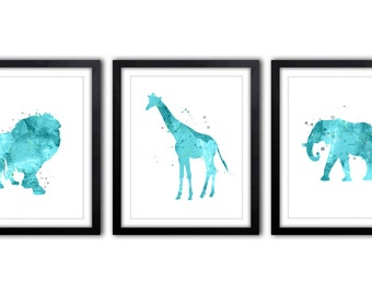 Elephant Nursery, Nursery Art, Baby Boy Nursery, Safari Decor, Teal and Gray, Nursery Decor, Giraffe, Elephant, Lion Art, Set of 3, Prints