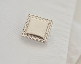 Vintage silver tone cuff links, square cuff links, men's cufflinks