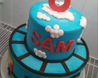Handmade Fondant Train Cake Topper Set