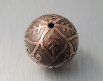 Large Etched Copper Bead - Pointed Flower Design - 22mm Round Bead