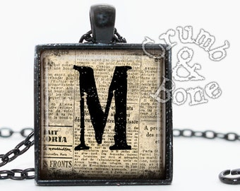 Initial M Pendant, Custom Monogram Pendant with Necklace or Keychain, Letter M Necklace, Handmade