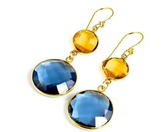 London Blue and Citrine Quartz Earrings