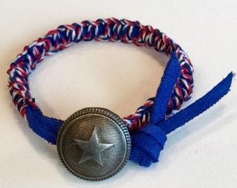 Captain America Macrame  Bracelet