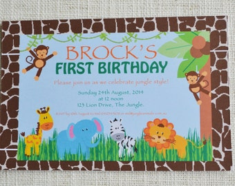 "Jungle Theme birthday invitation. Digital File, 6x4"" personalised"