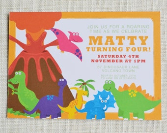 "Dinosaur Birthday Invitation. Digital File, 6x4"", personalised"