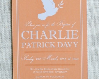 "Dove Christening Invitation. Digital file 4x6"". Customised"