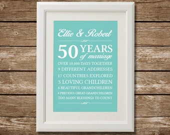 50th Wedding Anniversary Gifts For Parents Canada : Etsy :: Your place to buy and sell all things handmade