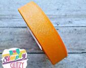5 yards TANGERINE ORANGE GLITTER Solid 7/8 Inch Grosgrain Ribbon