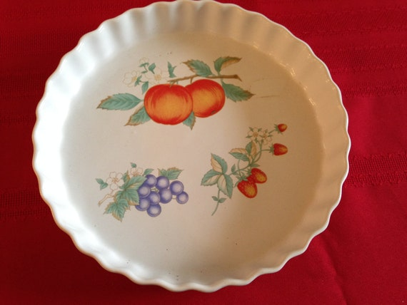 Vintage Ceramic Quiche Dish Pie Pan Flan Dish White With
