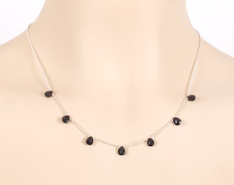Black spinel necklace,black beaded necklace made with black spinel teardrops beads in 925 sterling silver,black necklace