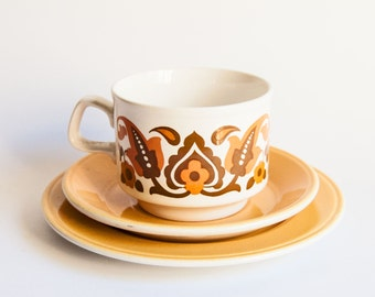 Retro Staffordshire Cup, Saucer, Plate Trio - Orange Paisley Pattern