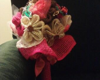 Burlap Flower & Broach Bouquet