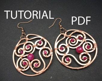 Tutorial jewelry, earrings tutorial, copper wire tutorial, wire wrapp earrings tutorial, wire wrapped earrings tutorial, jewelry instruction