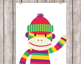Nursery Art Printable Sock Monkey Bright Colors Art Print Wall Art, 8 x 10 Instant Download Digital File