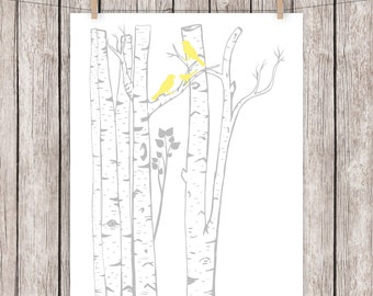 Nursery Printable Art Print Birch Trees Birds Yellow Gray Art Print Home Wall Decor, 8x10 Instant Download Digital File