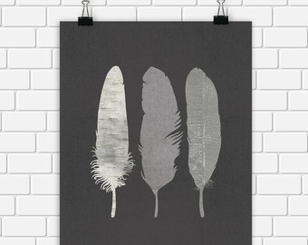 Feathers Printable Art Tribal Gray Grey Art Print, Wall Art 8 x 10 Instant Download Digital File