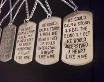 YOUR OWN MESSAGE!  Personalized Hand Stamped Dog Tag Necklace With Your Choice of Text and Optional Chain