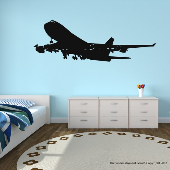 Airplane wall decal stickers decor easy removable sticker for Airplane wall mural