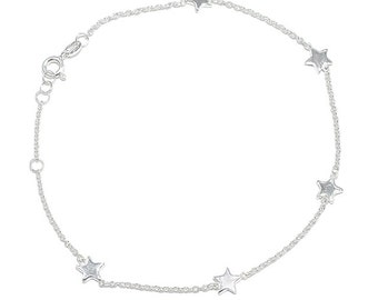 925 Sterling Silver Star Anklet 10 INCHES