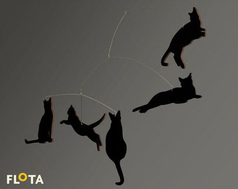 Beautiful Hanging Mobile- Black Cats- Home Decor